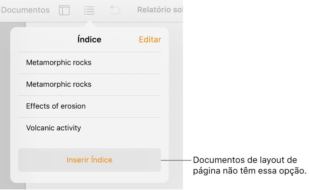 Visualização do índice, com Editar no canto superior esquerdo, entradas do índice e o botão Inserir Índice na parte inferior.