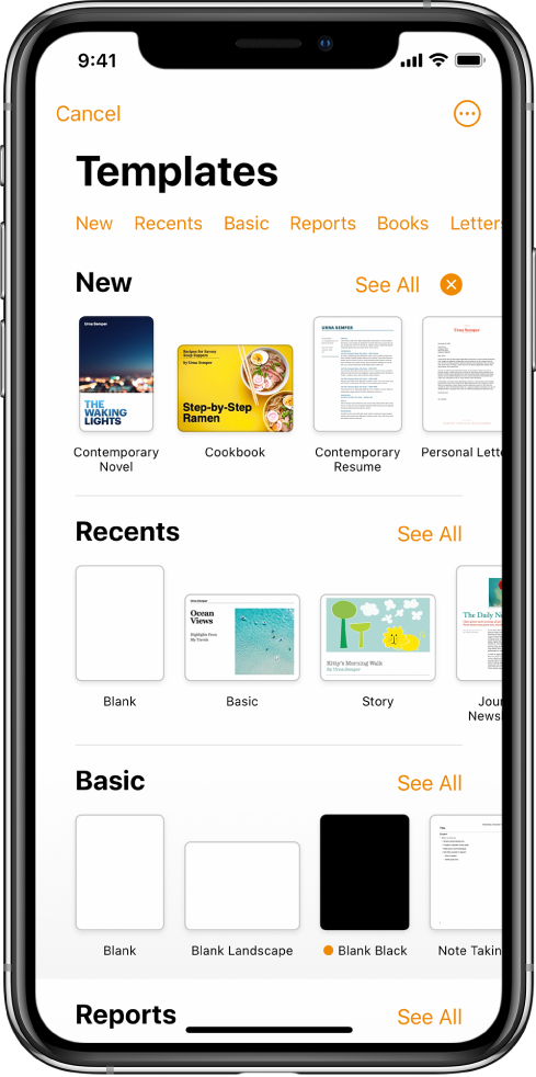 The template chooser, showing a row of categories across the top that you can tap to filter the options. Below are thumbnails of predesigned templates arranged in rows by category, starting with New at the top and followed by Recents and Basic. A See All button appears above and to the right of each category row. The Language and Region button is in the top-right corner.
