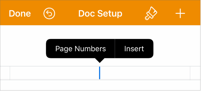 The Doc Setup window with the insertion point in a header field and a popup menu with two menu items: Page Numbers and Insert.
