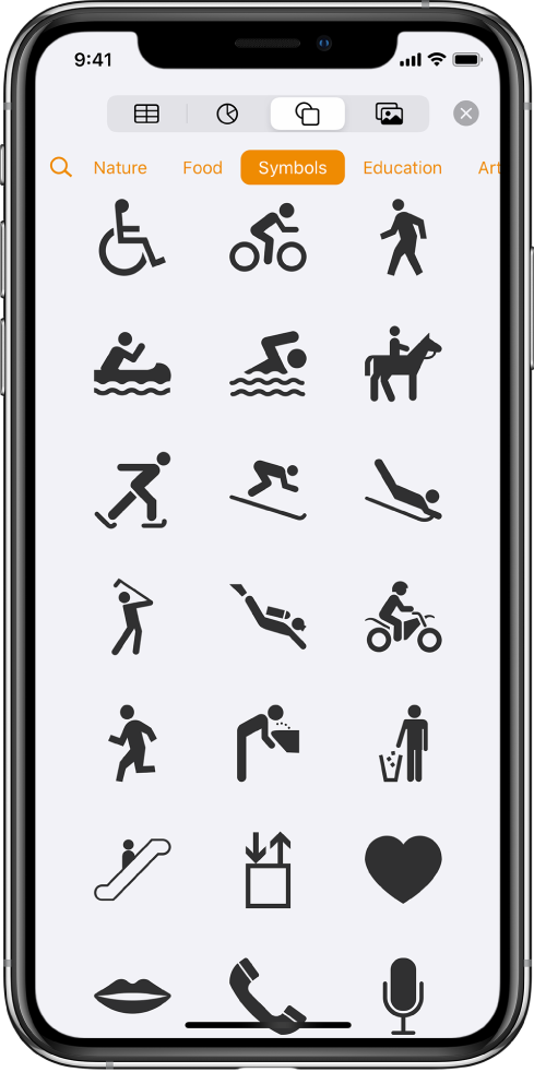 The Insert menu with buttons across the top to add tables, charts, shapes, and media. Shapes is selected and its menu shows a row of categories with a Search button on the left. The category Activities is selected and shapes appear below.