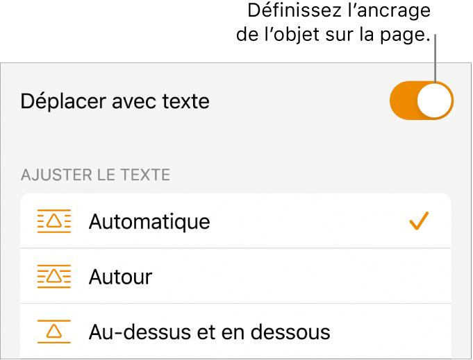 Commandes Disposition avec les options Placer derrière/devant, Avec le texte et Ajustement du texte.