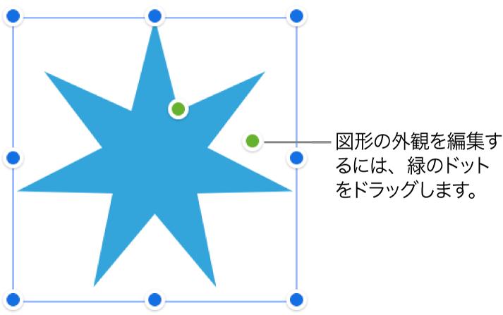 選択ハンドルのある図形。