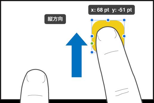 オブジェクトを押さえている1本の指と、画面上部に向かってスワイプしているもう1本の指。