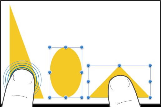 Eén vinger op een vorm en een tweede vinger tikkend op een andere vorm.