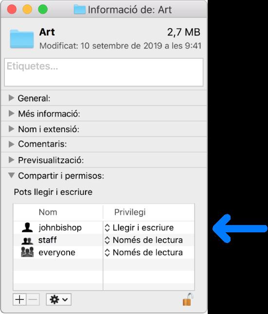 La configuració dels permisos, a la part inferior d'una finestra d'informació.