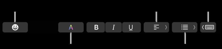 """Touch Bar amb els botons de l'app Mail que inclouen, d'esquerra a dreta: Emoji, Colors, Negreta, Cursiva, Subratllat, Alineació, Llistes i """"Suggeriments d'escriptura""""."""