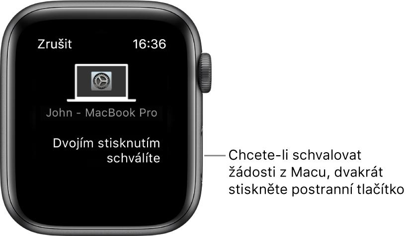 Hodinky AppleWatch se zobrazenou žádostí oschválení zMacBookuPro