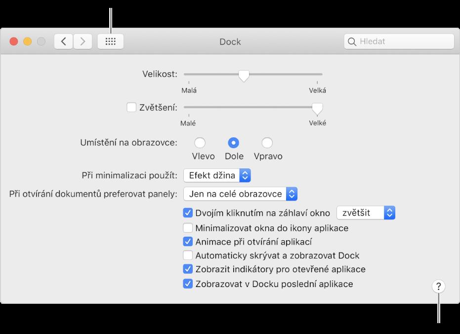 Kliknutím na možnost Zobrazit vše zobrazíte všechny ikony předvoleb. Další informace opanelu zobrazíte kliknutím na tlačítko Nápověda.