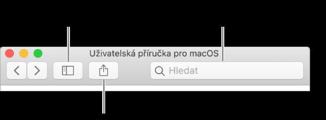 Okno nápovědy, vněmž je na nástrojovém panelu vidět tlačítko umožňující kliknutím skrýt další témata vpřehledu Obsah, tlačítko pro sdílení témat apole vyhledávací pole.