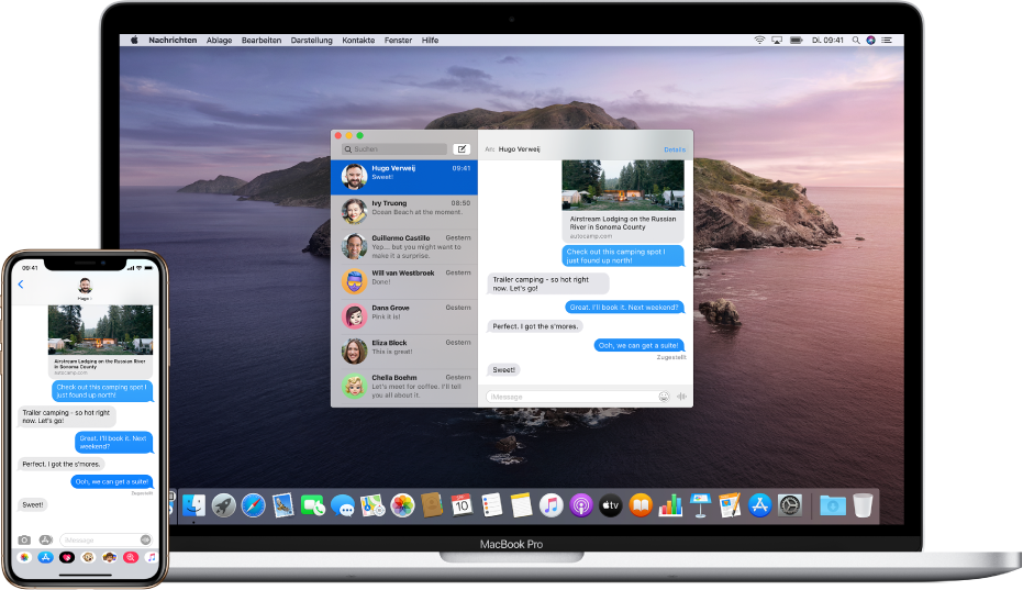 Auf dem iPhone wird eine Textnachricht angezeigt. Daneben befindet sich ein Mac, auf dem die Nachricht per Handoff weitergegeben wird; das Handoff-Symbol befindet sich am linken Ende des Docks.