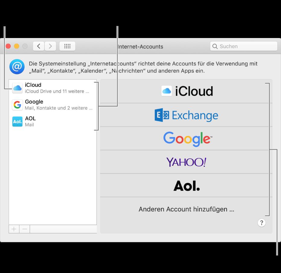 """Systemeinstellung """"Internetaccounts"""" mit Accounts rechts und den verfügbaren Accounttypen links"""