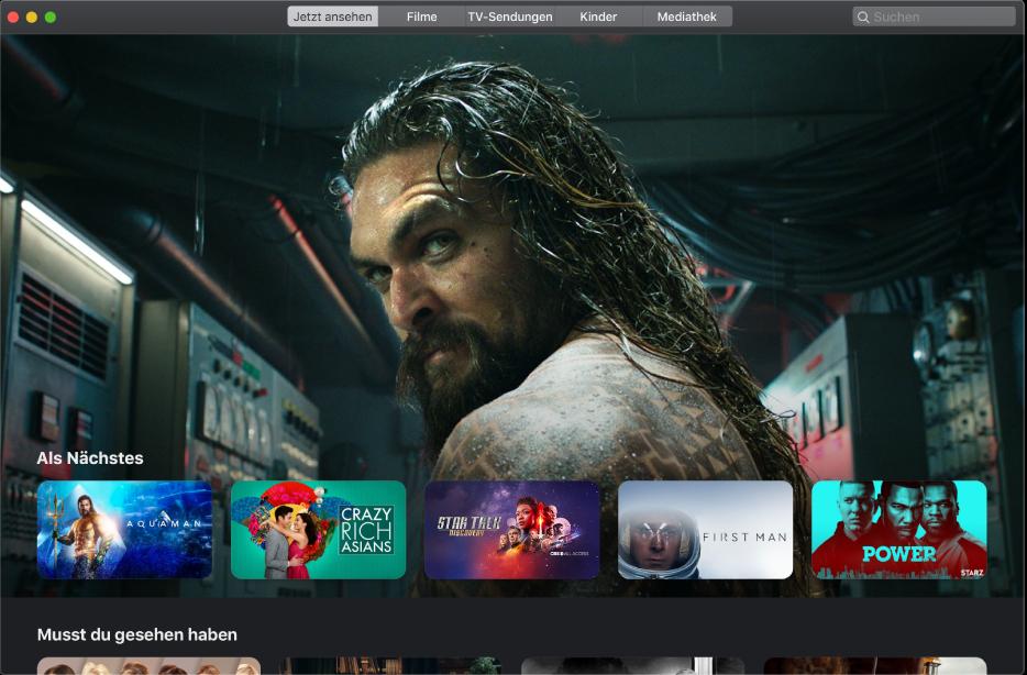 """Das Fenster """"Apple TV"""" zeigt einen Film in der Kategorie """"Jetzt ansehen"""", der als Nächstes abgespielt wird."""
