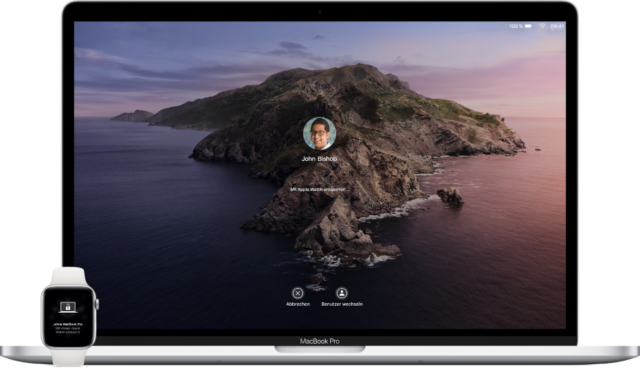 Eine AppleWatch zeigt eine Mitteilung, dass sie einen Mac entsperrt. Daneben befindet sich der Mac, der entsperrt wird.