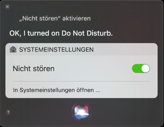 """Das Siri-Fenster zeigt eine Anfrage zum Abschließen einer Aufgabe """"Aktiviere Nicht stören""""."""