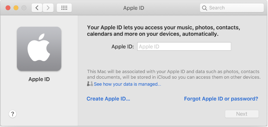 Apple ID dialogue ready for entry of an Apple ID name. A Create Apple ID link appears which allows you to create a new Apple ID.