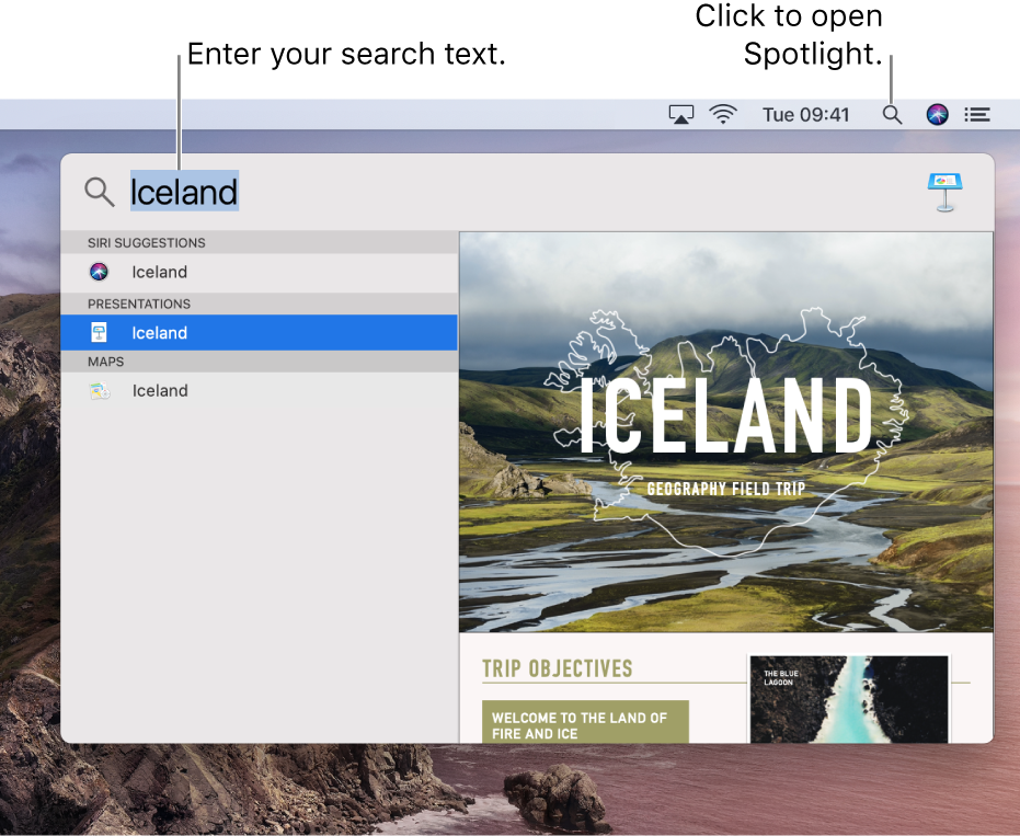 The Spotlight menu showing an example search with search results.