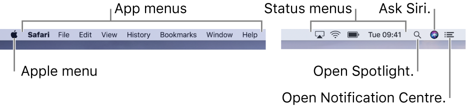 The menu bar. On the left are the Apple menu and app menus. On the right are status menus, and the Spotlight, Siri and Notification Centre icons.
