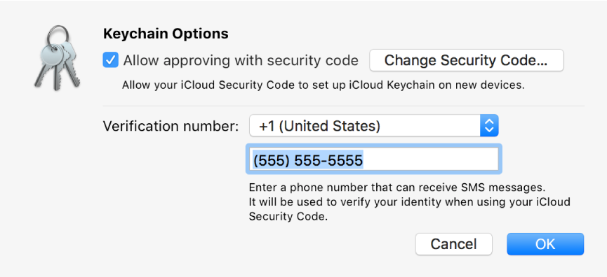 iCloud Keychain Options dialog with the option selected to allow approving with the security code, the button for changing the security code, and the fields for changing the verification number.