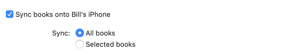 """""""Sync books onto device"""" checkbox appears with the """"All books"""" button selected and the """"Selected books"""" button unselected."""