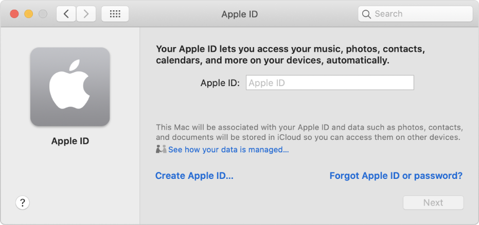 Apple ID dialog ready for entry of an Apple ID name. A Create Apple ID link appears which allows you to create a new Apple ID.