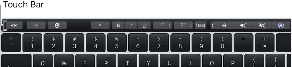 The Touch Bar across the top of the keyboard.