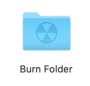 A burn folder on the desktop.