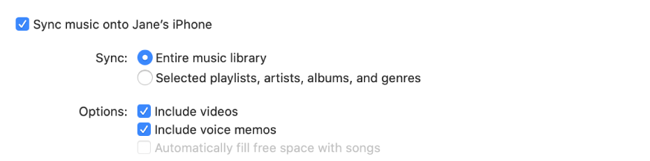 """""""Sync music onto device"""" checkbox appears with additional options for syncing your entire library or only selected items and including videos and voice memos in the syncing process."""