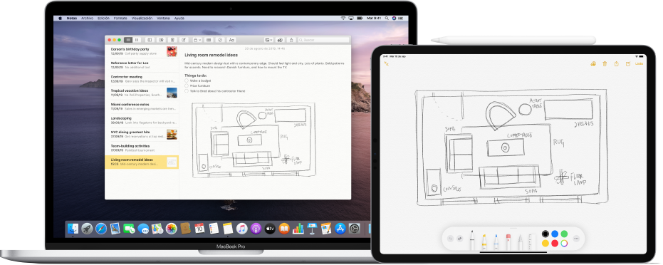 Un iPad mostrando un dibujo y una Mac a un lado mostrando el mismo dibujo en la appNotas.