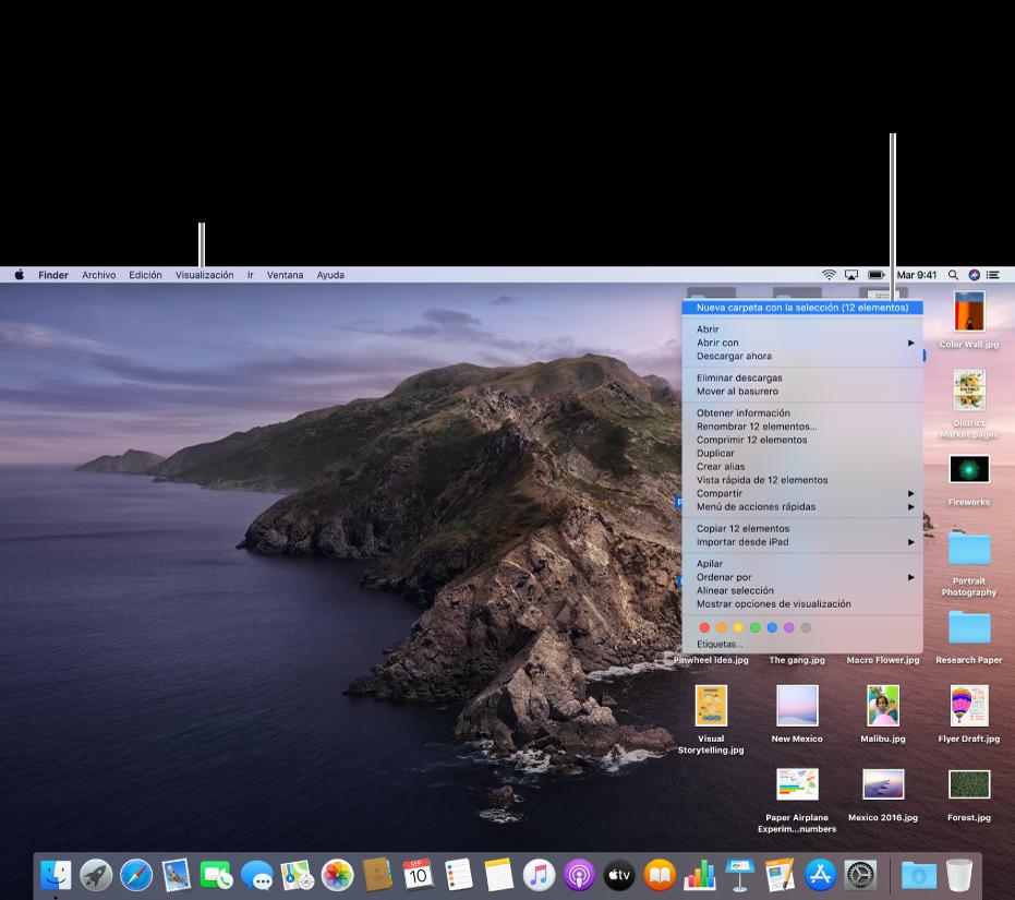 """Un ejemplo de un escritorio con archivos. Usa el menú Visualización (en la parte superior izquierda de la pantalla) para agrupar y ordenar íconos. Puedes organizar archivos en el escritorio; para colocarlos en una nueva carpeta selecciona los archivos, haz clic con la tecla Control presionada en uno de ellos y selecciona """"Nueva carpeta con selección""""."""