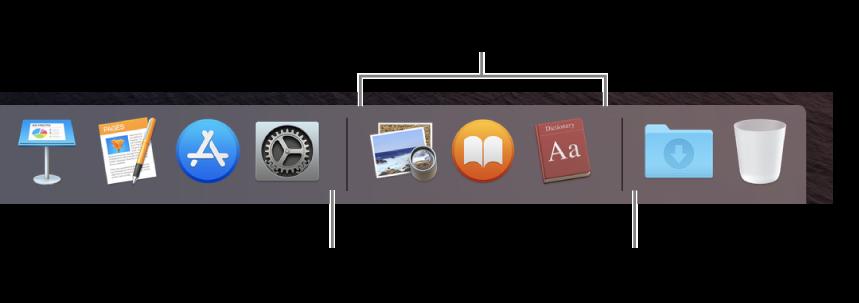 El extremo derecho del Dock. Agrega apps a la izquierda de la sección de apps utilizadas recientemente, y agrega carpetas a la derecha de dicha sección, donde se sitúan la pila Descargas y el Basurero.