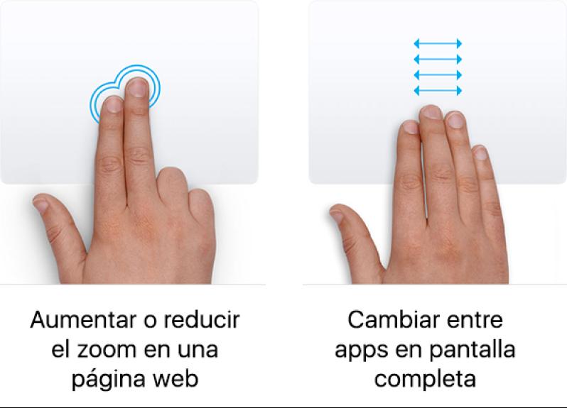 Ejemplos de gestos del trackpad para acercar y alejar el contenido de una página web, y alternar entre apps en pantalla completa.