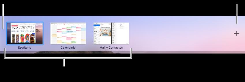 Barra de Spaces que muestra un espacio de escritorio, apps a pantalla completa y en SplitView, y el botón Añadir para crear un espacio.