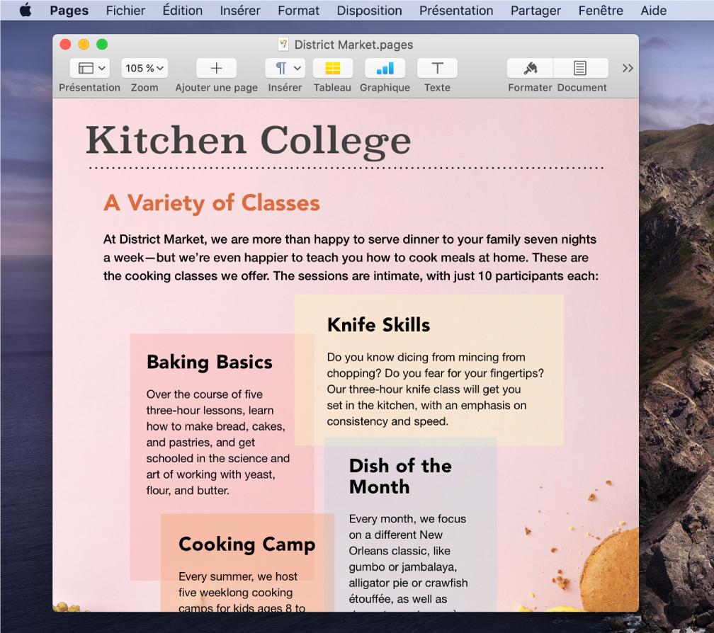 Un document dans l'app Pages sur le bureau.