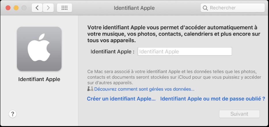 Zone de dialogue «Identifiant Apple», dans laquelle vous pouvez saisir un identifiant Apple. Un lien «Créer un identifiant Apple» s'affiche et vous permet de créer un nouvel identifiantApple.