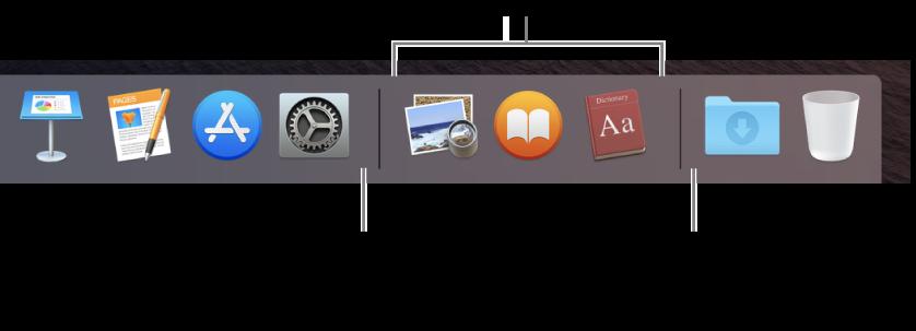 L'extrémité droite du Dock. Ajoutez des apps à gauche de la section des apps récemment utilisées et des dossiers à droite de cette section, du côté de la pile Téléchargements et de la corbeille.