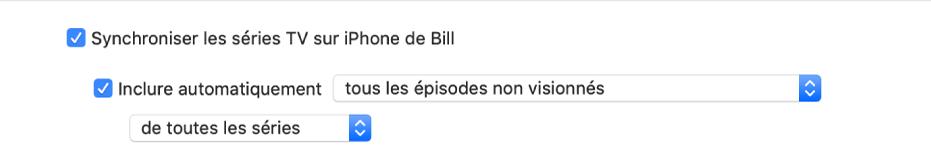 La case «Synchroniser les sériesTV sur l'appareil» s'affiche avec la case «Inclure automatiquement» cochée, et les options «toutes les sériesTV non souhaitées» et «de toutes les séries» sont sélectionnées dans les menus locaux.