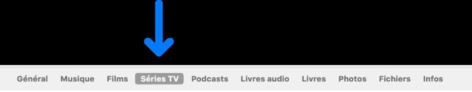 La barre des boutons affichant l'option «SériesTV» sélectionnée.