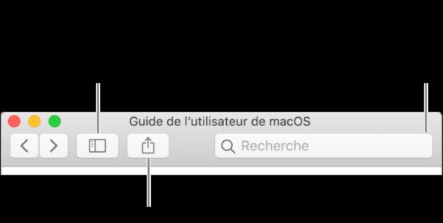 La fenêtre d'aide avec le bouton dans la barre d'outils qui permet de masquer ou d'afficher la table des matières, le bouton pour partager une rubrique et le champ de recherche qui permet de rechercher des rubriques.