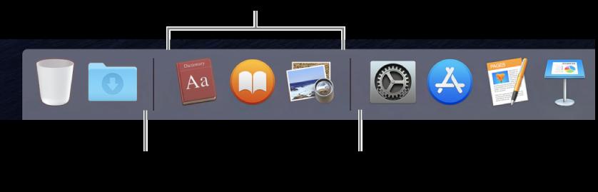 """הקצה השמאלי של ה-Dock. הוסף/י יישומים מימין למקטע היישומים האחרונים שהיו בשימוש, והוסף/י תיקיות לשמאלו של מקטע זה, היכן שניתן לראות את הערימה """"הורדות"""" ואת הפח."""
