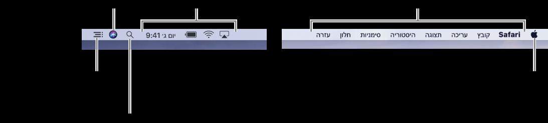 שורת התפריטים. משמאל נמצאים תפריט Apple ותפריטי היישומים. מימין נמצאים תפריטי מצב, והצלמיות של Spotlight, Siri ו״מרכז העדכונים״.
