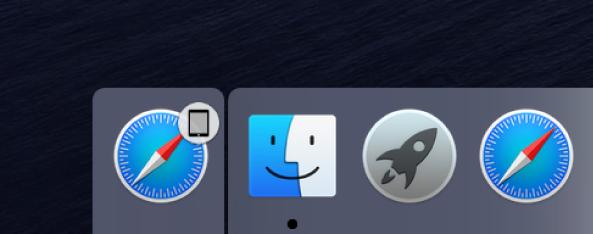 Dock के बाएँ भाग में स्थित iPad से ऐप का Handoff आइकॉन।
