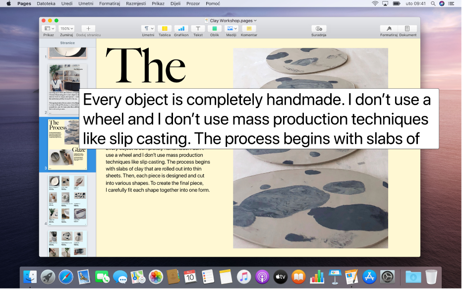 Dokument aplikacije Pages s prozorom teksta koji lebdi s prikazom velikog teksta visoke razlučivosti u dokumentu.
