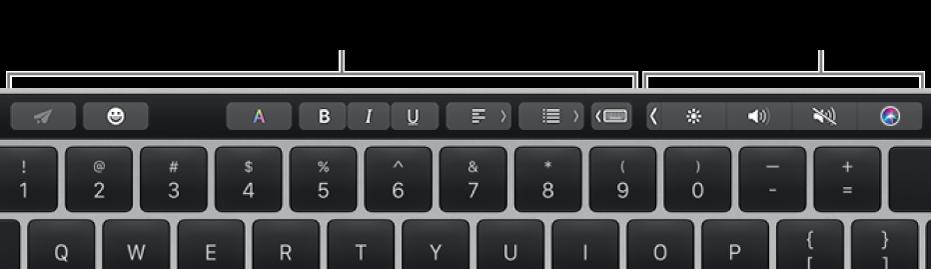 Touch Bar dengan tombol yang berbeda-beda menurut app atau tugas di sisi kiri dan Control Strip yang diciutkan di sisi kanan.