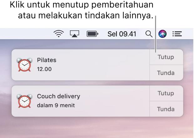 Pemberitahuan dari app Kalender di pojok kanan atas layar.