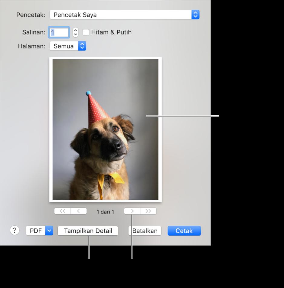 Ikon di menu pop-up Pencetak menunjukkan status pencetak. Dialog Cetak menunjukkan pratinjau kecil pekerjaan mencetak. Klik tombol Tampilkan Detail untuk melihat semua pilihan cetak.