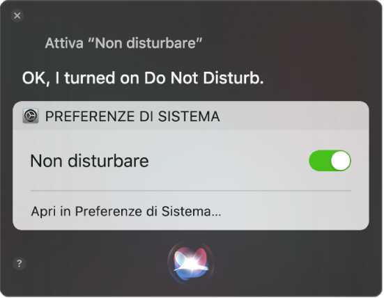 """La finestra di Siri window con la richiesta di completare un'attività, """"Attiva Non disturbare""""."""
