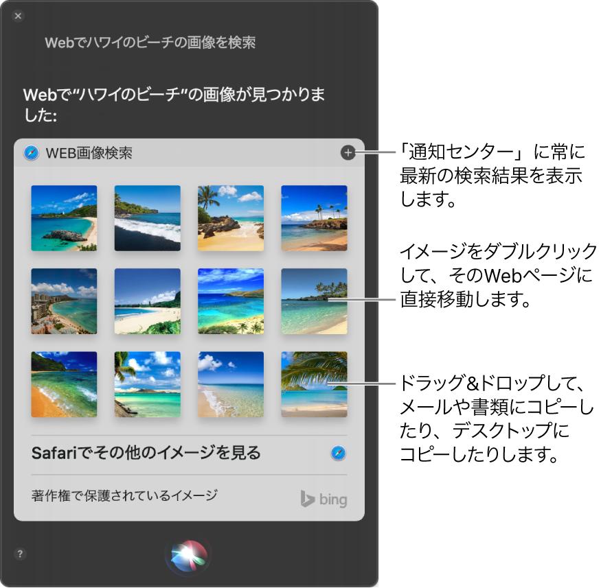 「Webでハワイのビーチのイメージを検索」というリクエストの結果が表示されたSiriウインドウ。その結果を通知センターにピンで固定したり、その画像をダブルクリックして画像を含むWebページを開いたり、画像をメール、書類、またはデスクトップにドラッグしたりできます。