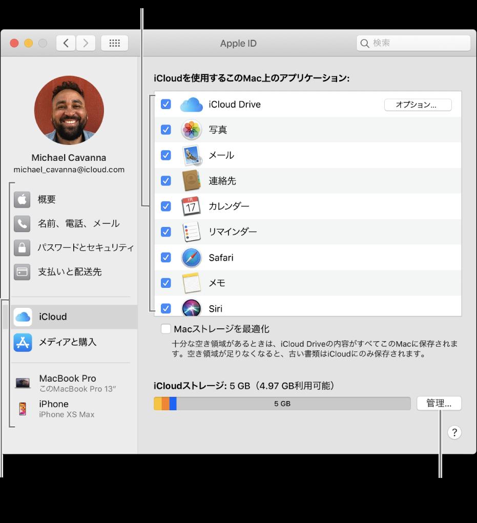 すべての機能が選択されているiCloud環境設定。
