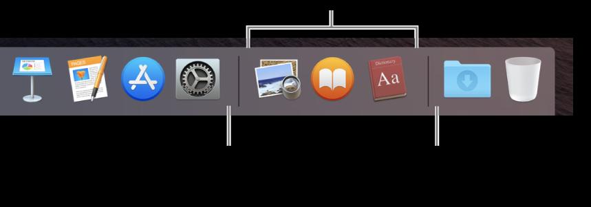 Dockの右端。アプリケーションを最近使ったアプリケーションセクションの左側に追加して、フォルダをこのセクションの右側のダウンロードスタックとゴミ箱がある場所に追加します。