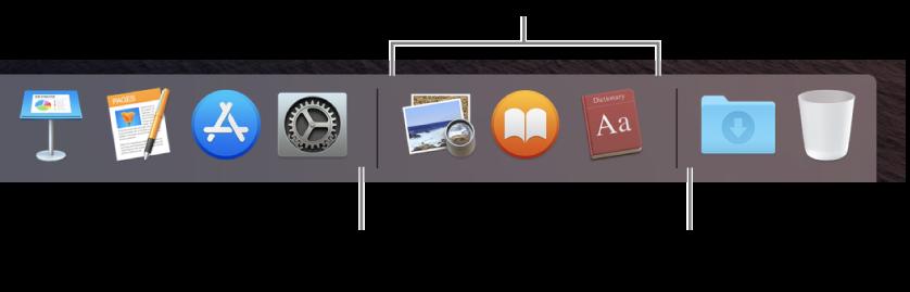 Dock에 있는 앱, 파일 및 폴더 간의 분리선.